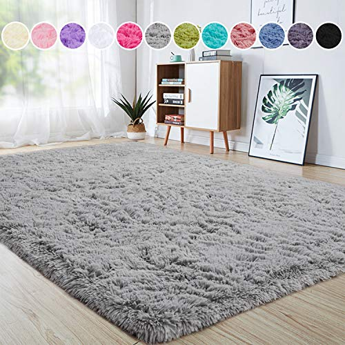 Junovo Indoor Area Rugs for Home Decor, Sound-insulating Carpet for Living Room, 4 Feet x 5.3 Feet, Grey