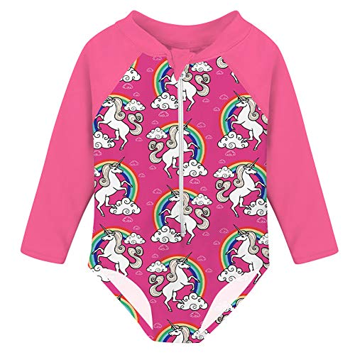 uideazone Toddler Girls Rainbow Unicorn Printed One Piece Swimsuit Surfsuit Newborn Toddler Long Sleeve Rashguard Bodysuit Bathing Suit One Piece Swimwear Outfits 3-4T