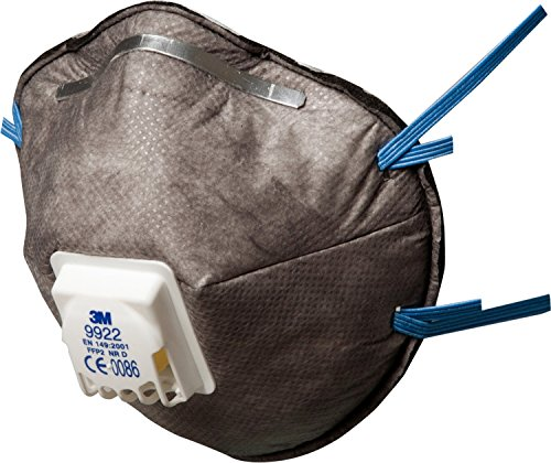 3M Mascarilla desechable autofiltrante especial FFP2 NR D con válvula para vapores orgánicos <VLA y ozono (10 mascarillas/caja), 10 Unidades, 9922