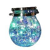 YAOQI - Luci solari da giardino, da appendere, in vetro, lanterne decorative a forma di fata, rotonde, a forma di sfera, impermeabile, a LED, da giardino, recinto di Natale, feste di matrimonio