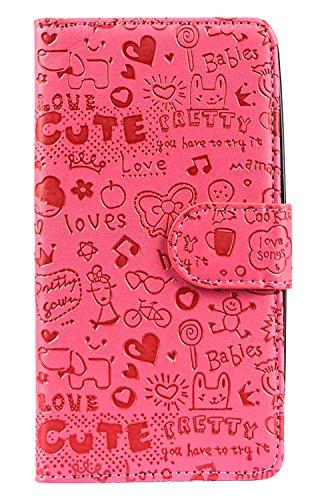 Purple Eyes Cute ABC Love Wallet flip for LG L Bello D335 D331 (Pink)