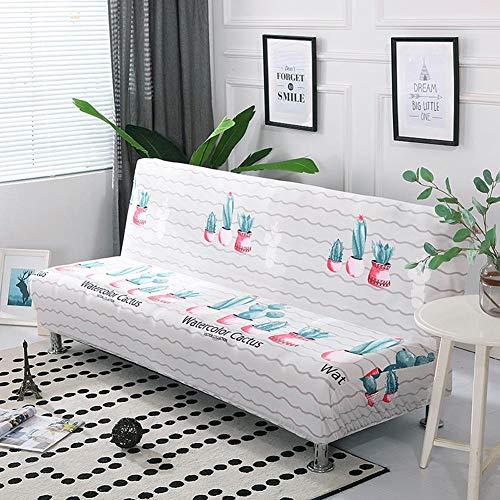 Fiaoen Funda elástica de poliéster impresa para sofá con cubierta completa, sin reposabrazos, protector de muebles, resistente al desgaste, a la suciedad y antiarrugas, realista