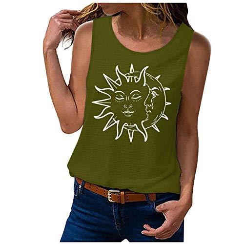 Tops Damen Teenager Mädchen Sonne und Mond Druck Tank Top Ärmellos Blusentop Kurz Weste Slip Sommer Lose T-Shirts Casual Oberteile Vest Crop Top Hemdbluse