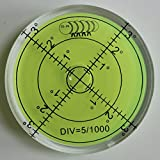 Nivel De Burbuja De Agua Grande Acrílico (Líquido Verde) 60mm De Diámetro, En Grados, Cubierta Acrílica, Nivel De Superficie, Ojo De Buey, Ampolla