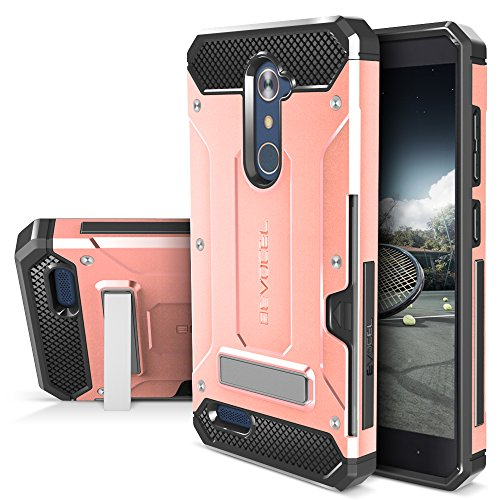 ZTE ZMAX PRO/ZTE Blade X Max Case, Evocel [Explorer Series Pro] Dual Layer Credit Card Case with Magnetic Kickstand for ZTE ZMAX PRO (Z981) / ZTE Blade X Max (Z983), Rose Gold
