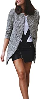 Ausexy Women Slim Winter Warm Wool Lapel Long Coat Lapel Casual Trench Parka Jacket Windbreaker Blazer Button Pocket Overcoat Outwear