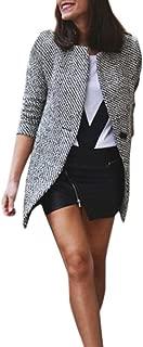 Ausexy Women Slim Winter Warm Wool Lapel Long Coat Lapel Casual Trench Parka Jacket Windbreaker Blazer Button Pocket Overcoat Outwear