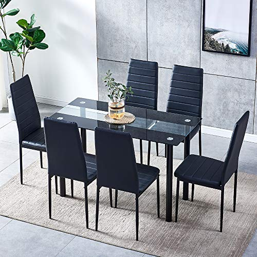 HomeSailing EU Dining Table and 6 Chairs Set Metal Leg Black Faux Leather Chairs Rectangle Glass Table for Home Kitchen Dinning Room