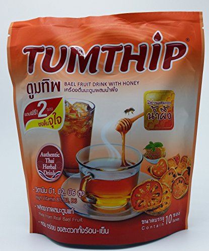 Tumtip Instant Bael Fruit Powder with Honey Herbal Health Drink High Vitamin Net Wt 130 G (10 Sachets X 13 G) X 3 Packs