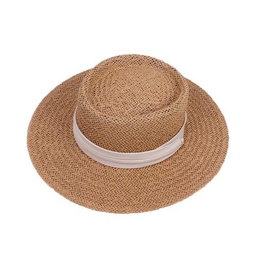 CHENGWJ strohoed mannen dames natuurlijke strohoed zomer strandhoed voor vrouwen mannen Panama Cap Fashion Concave platte bescherming vizier zonneboot hoed
