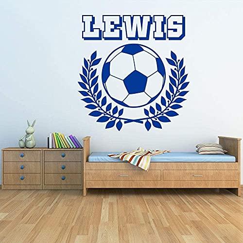 Etiqueta de la pared de vinilo arte etiqueta de la pared nombre personalizado con guirnalda cita fútbol deportes decoración niños decoración 46x50 cm