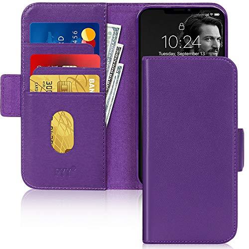 Fyy iPhone 12/12 Pro Hülle, [Echtes Leder] [RFID-Blockierung] Flip Wallet Handyhülle Schutzhülle Stoßfest Cover mit [Kartenhalter] für Apple iPhone 12/12 Pro 6,1 Zoll (2020) Lila