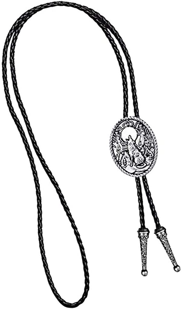 dailymall Vintage Western Cowboy Howling Wolf Bolo Tie Pendant Necklace Mens Jewelry