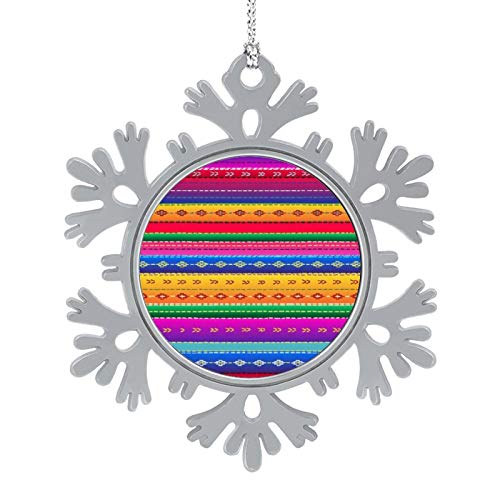 BUN T Mexico Ethnic Mexican Pattern Personalized Christmas Snowflake Ornaments Alloy Xmas Tree Hanging Decorations