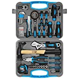 WZG Werkzeug - Juego de herramientas para el hogar (117 piezas, con estuche de almacenamiento de plástico, incluye enchufe, destornilladores, martillo, llave ajustable y alicates (azul)