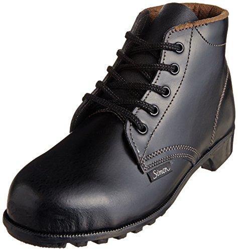 [シモン] 安全靴 中編上 JIS規格 耐油 耐熱 耐薬品 耐摩耗 ゴム底 ハイカット 紐 FD22 レディース 黒 28.0 cm