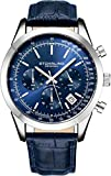 Stuhrling Original Mens Watches Chronograph Analog Blue Watch Dial with Date - Tachymeter 24-Hour Subdial Mens Blue Leather Strap - Watches for Men Rialto Collection