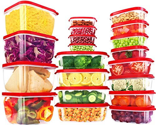 Utopia Kitchen 40 PC Red Plastic Food Storage Container with Lids-Plastic Food Containers sets-Vented Lids Food Storage -BPA Free-Durable Plastic Lunch Boxes