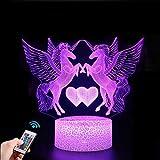Nice Dream Veilleuse Licorne 3D pour Enfants, Fille Lampe LED USB Veilleuse Illusion, 16 Couleurs Changeantes avec Télécommande pour Enfants Adultes Cadeau d'anniversaire et de vacances (Licorne 3)