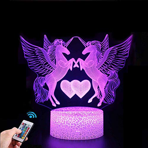Unicorn Gift Unicorn Night Light for Kids and Lover, 3D Light lamp 16 Colors Change with Remote, Valentine's Day Present and Birthday Gifts for Children (Unicorn3)