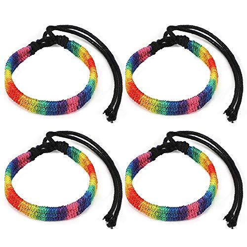 MWOOT 4 Unidades LGBT Pulsera, Gay Orgullo Desfile Accesorios Arco Iris Bracelets Tamaños Ajustables