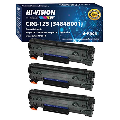 HI-Vision Compatible 125 3484B001AA Toner Cartridge Replacement for Canon imageCLASS LBP6030w imageCLASS MF3010, imageCLASS LBP6000 (Black, 3-Pack)