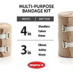 Premium Elastic Bandage Wrap - 8 Pack + 8 Extra Clips - Durable Compression Bandage (4X - 3 inch, 4X - 4 inch Rolls… 13 ✅ 2 DIFFERENT SIZES - Your package includes four 3-inch rolls and four 4-inch rolls of elastic bandages. It provides more possibilities for effective wrapping various injuries, so, you can get back to feeling like a boss. Our smaller bandage is perfect for covering smaller areas like your wrists, ankles, and elbows, while the larger bandage is ideal for larger areas as shoulders, calves, or knees. ✅ SUPERIOR ELASTICITY - We made our high-quality compression bandage wrap from premium polyester. You're going to feel great because it provides supportive compression for keeping your muscles snug as a bug in a rug. Also, the Mighty-X crepe bandage can extend up to 15ft when fully stretched, which is enough to cover most areas. ✅ INDIVIDUALLY PACKAGED - Each elastic bandage wrap is enveloped in a protective wrapper until you're ready to use it. We do this to keep your compression wrap hygienic and debris-free to help prevent any kind of irritation.
