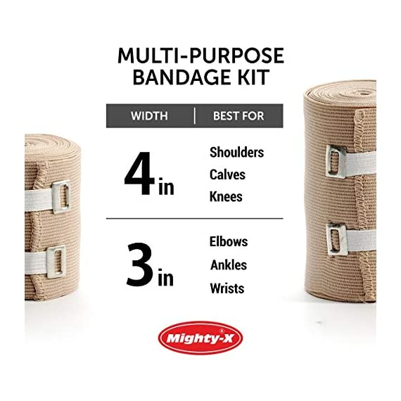 Premium Elastic Bandage Wrap - 8 Pack + 8 Extra Clips - Durable Compression Bandage (4X - 3 inch, 4X - 4 inch Rolls… 6 ✅ 2 DIFFERENT SIZES - Your package includes four 3-inch rolls and four 4-inch rolls of elastic bandages. It provides more possibilities for effective wrapping various injuries, so, you can get back to feeling like a boss. Our smaller bandage is perfect for covering smaller areas like your wrists, ankles, and elbows, while the larger bandage is ideal for larger areas as shoulders, calves, or knees. ✅ SUPERIOR ELASTICITY - We made our high-quality compression bandage wrap from premium polyester. You're going to feel great because it provides supportive compression for keeping your muscles snug as a bug in a rug. Also, the Mighty-X crepe bandage can extend up to 15ft when fully stretched, which is enough to cover most areas. ✅ INDIVIDUALLY PACKAGED - Each elastic bandage wrap is enveloped in a protective wrapper until you're ready to use it. We do this to keep your compression wrap hygienic and debris-free to help prevent any kind of irritation.