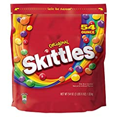 Contains one (1) 54-ounce party size bag of SKITTLES Original Fruity Candy TASTE THE RAINBOW: The SKITTLES rainbow, that is. These assorted fruit-flavored, bite-sized candies are one of the all-time candy greats. Deliciously chewy, you'll love the gr...