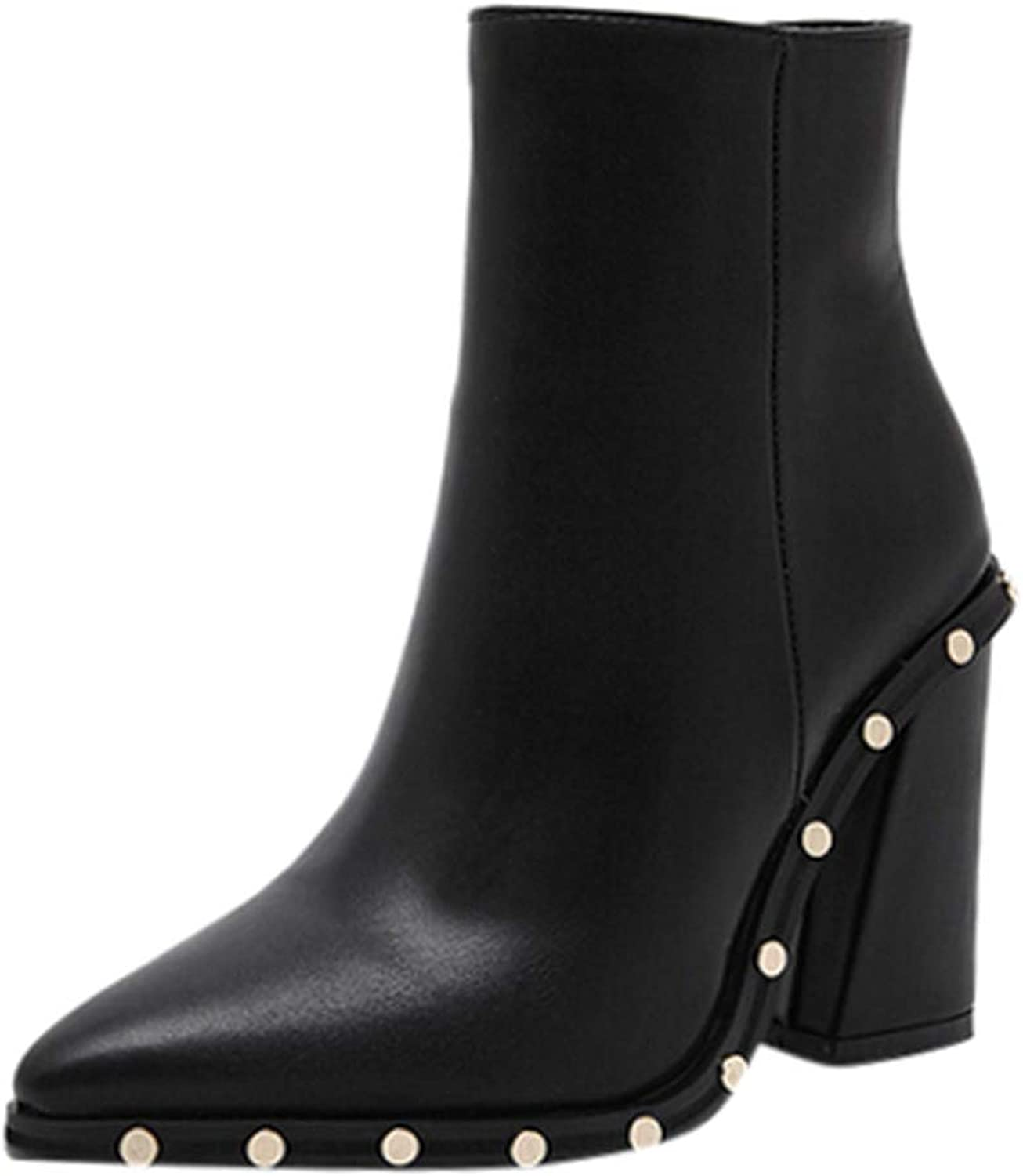 Morecome Women's Pointed Studded shoes Zipper High Heel Ankle Boots Leather Ankle Boots