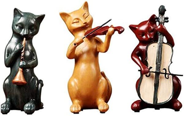 BESTOMZ Cabinet Ornaments Cat Band Resin Figurines Home Decors Art Decoration Display Craft Collection Gift 3pcs