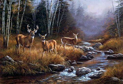 Jigsaw Puzzle 1000 Pieces Adult Puzzle Wooden Puzzle Classic 3D Puzzle 3 Deers by The River DIY Modern Art Home Decor,75X50Cm