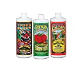 A three-pack of favorite liquid fertilizers from FoxFarm Get the right juice for the right use Start with Grow Big Hydro for abundant green growth Switch to Tiger Bloom at the first sign of bud set or flowering Use Big Bloom throughout all growing cy...