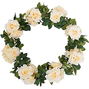 YUYYAO 3PCS(17.7FT) Rose Vines Artificial Flowers Garland Fake Silk Roses Garlands with Led String Light (6.6FT) Hanging Vines for Home Kitchen Garden Office Wedding Wall Decor