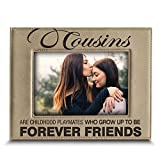 Bella Busta -Cousins-Forever Friend Picture frame-Great Gift for best cousin Birthday-Christmas gift for cousin -Engraved Leather Picture Frame (5'x 7' Horizontal)