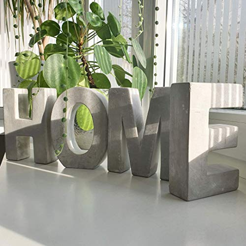 Alenio Beton Wohnzimmer Deko Buchstaben Lieblingswort in 3D Zement Gips DIY Schriftzug Geschenk Love Dekobuchstaben Mr & Mrs Hochzeit (Home)