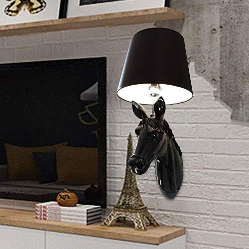 COOLSHOPY el Norte de Europa Lámpara de pared Cabeza del pasillo del pasillo Lámpara de pared simple y elegante caballo Negro Lámpara de pared LED creativo Animal 1 * E27 (33 * 65cm) de alta Sabor Apl