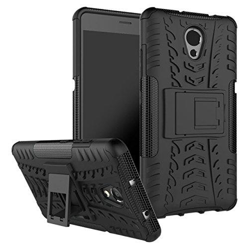 Sunrive Für Lenovo P2, Hülle Tasche Schutzhülle Etui Case Cover Hybride Silikon Stoßfest Handyhülle Hüllen Zwei-Schichte Armor Design schlagfesten Ständer Slim Fall(schwarz)