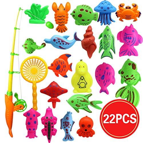 Magnetic Fishing Game für Kinder - Bad Pool Spielzeug-Set für Wasserspiegel Lernen Bildung Fishin für Badewanne Spaß, Polen Rod Net Fische für Kinder Alter