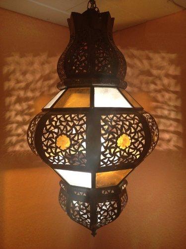 Orientalische Lampe Pendelleuchte Bunt Futun 50cm E27 Lampenfassung | Marokkanische Design Hängeleuchte Leuchte aus Marokko | Orient Lampen für Wohnzimmer Küche oder Hängend über den Esstisch