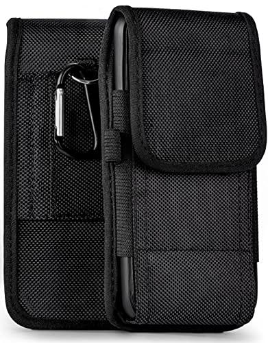 moex Agility Hülle für Moto G5 - Hülle mit Gürtel Schlaufe, Gürteltasche mit Karabiner + Stifthalter, Outdoor Handytasche aus Nylon, 360 Grad Vollschutz - Schwarz