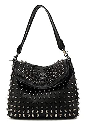 Scarleton Large Studded Skull Shoulder Bag for Women, Vegan Leather Punk Rock Rivet Crossbody Bag, Gothic Purse for ladies, Black, H141701