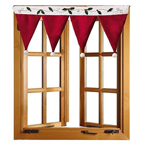 Picturesque Christmas Santa Hat Curtain Valance Window Decorations Decals