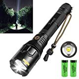 Rechargeable LED Flashlight,90000 High Lumen Super Bright Powerful Tactical Flashlight with 26650 Batteries,5 Light Modes, Zoomable Flashlights for Emergency Camping,Gift for Father's/Mother's Day