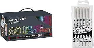 Graph'it GI00800 Coffret de 80 Marqueurs avec présentoir acrylique Couleurs Assorties & Liner GI43332 Pochette de 6 fine l...