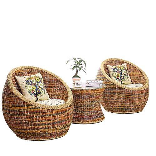 QQXX Silla de Mimbre para Exteriores, combinación de Tres Piezas, Mesa y sillas de Comedor Informales, balcón, Sala de Estar/Ocio/jardín Silla de Mimbre Muebles para el hogar (tamaño: C)