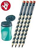 STABILO EASY Dosenspitzer 3 in1 für Rechtshänder (petrol + 4 Dreikant-Bleistifte)