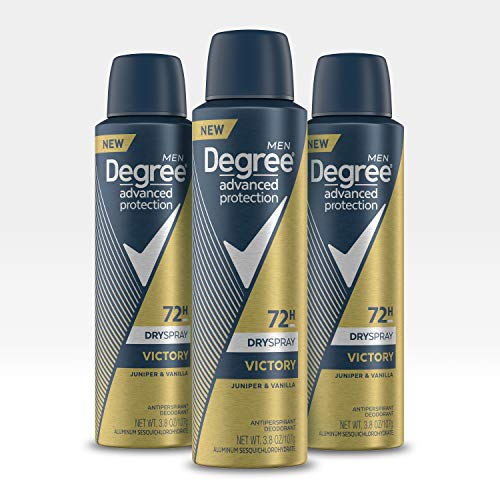 Degree Antiperspirant Deodorant Dry Spray 72 Hour Sweat and Odor Protection Victory Men's Deodorant Spray for Excessive Armpit Sweat 3.8 oz 3 Count