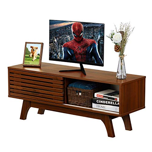 Itaar Mid-Century TV Stand with Sliding Door, TV Console Cabinet for Living Room, Media Furniture Wood Storage Console, Media Entertainment Center for Flat Screen TV Cable Box Gaming Consoles, Walnut