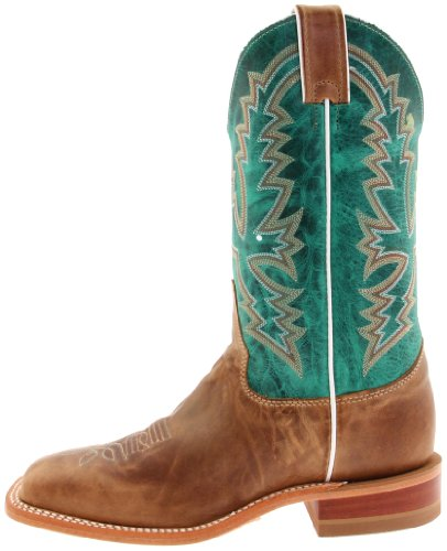 "Justin Boots Women's U.S.A. Bent Rail Collection 11"" Boot Wide Square Double Stitch Toe Leather Outsole,Burnished Tan,Black Tan ""America""/Turquoise Ponteggio Calf,7.5 B US"